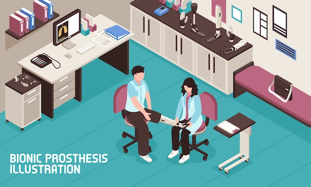 Bionic prosthesis isometric illustration Free Vector