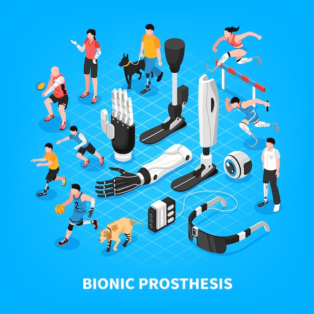 Bionic prothesis isometric composition Free Vector