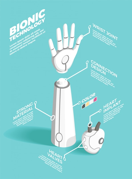 Bionics technology isometric composition Free Vector