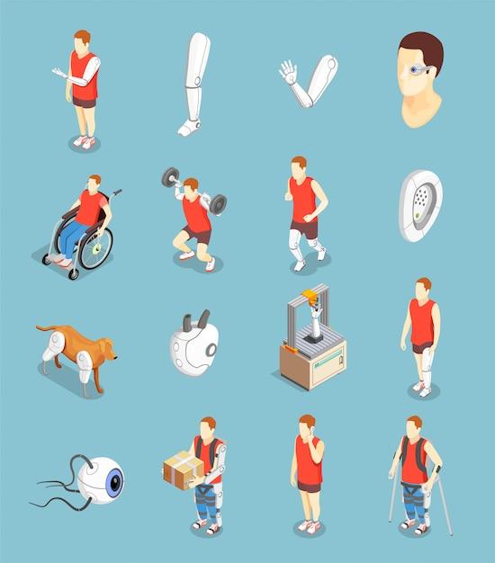 Bionics technology isometric icons Free Vector