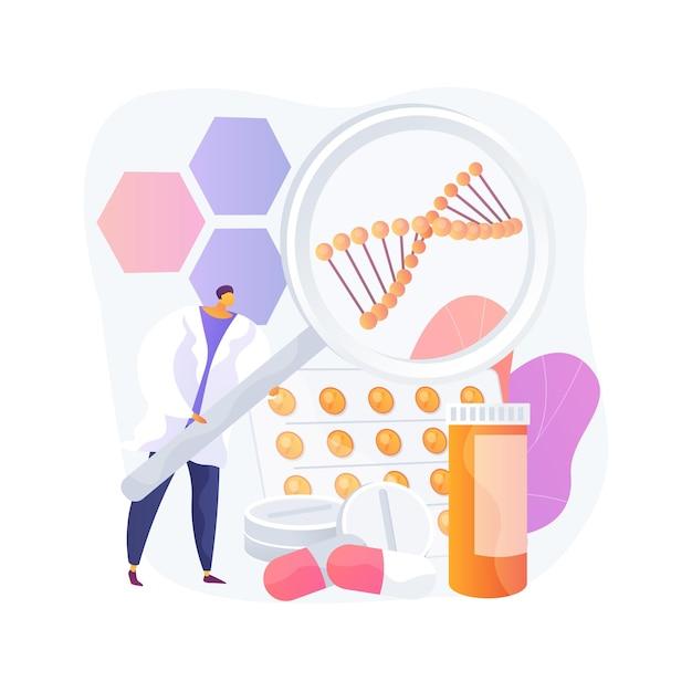 생물 약리학 제품 추상 개념 벡터 일러스트 레이 션. 생물 약리학 및 퍼스널 케어, 생물학적 제품, 내용 화장품, 천연 약국, 영양 보충제 추상 은유. 무료 벡터