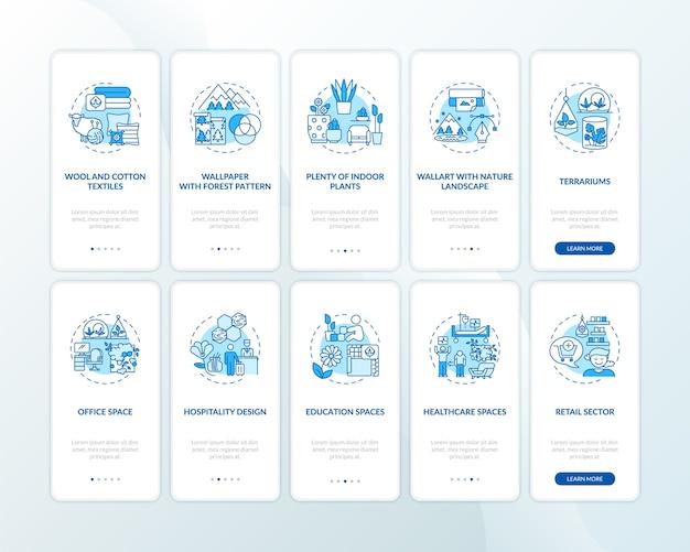 コンセプトが設定されたbiophiliablueオンボーディングモバイルアプリページ画面。天然素材。 Premiumベクター