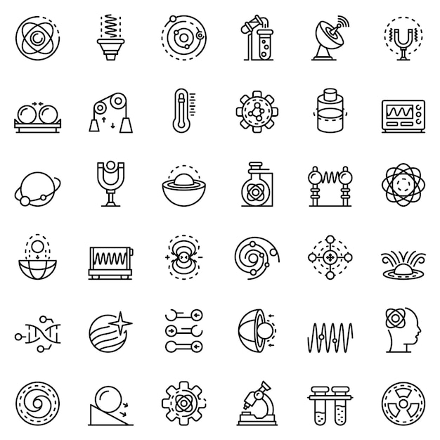 Biophysics icons set Premium Vector