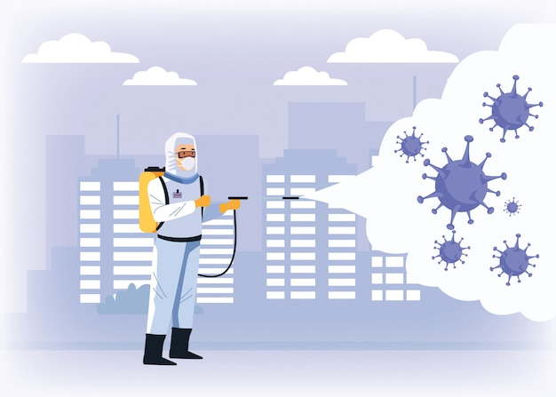 Biosafety worker with sprayer disinfectant and covid19 particles Premium Vector