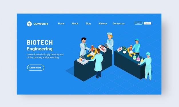 Biotech engineering landing page design concept Premium Vector