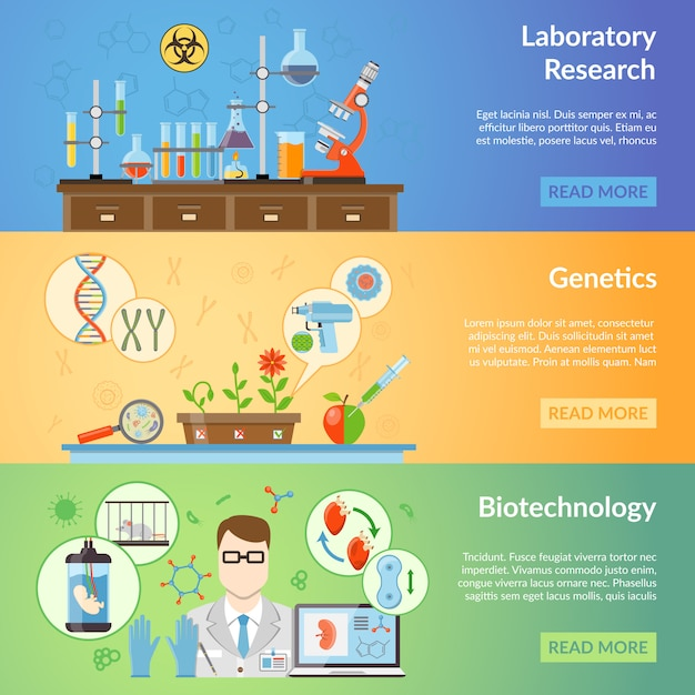 Biotechnology and genetics banners Free Vector