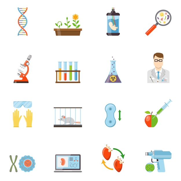 Biotechnology and genetics color icons Free Vector