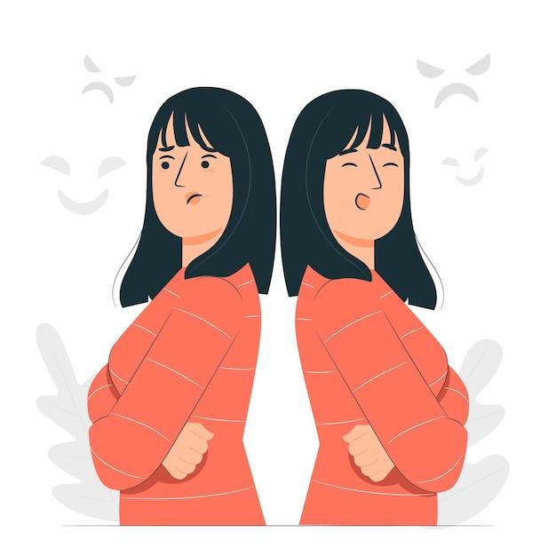Bipolar disorder concept illustration Free Vector