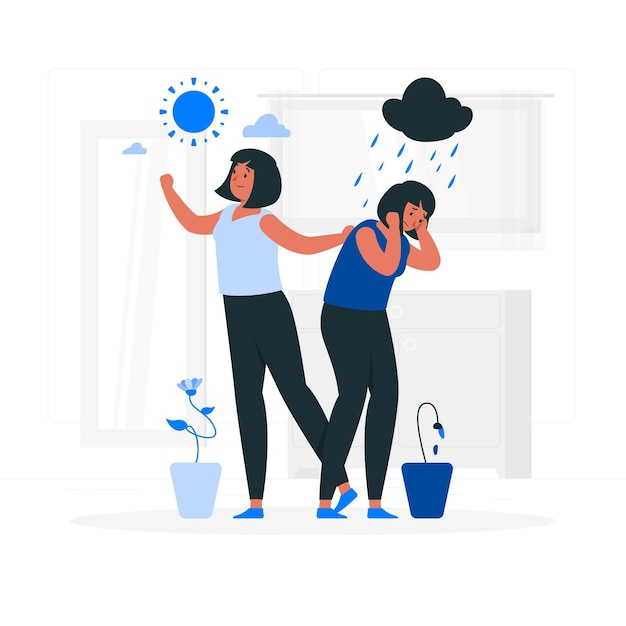 Bipolar disorder concept illustration Free Vector