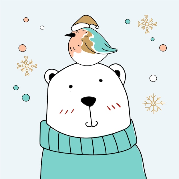 Bird and bear Free Vector