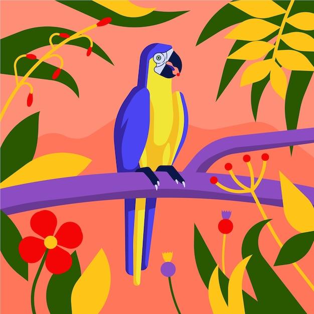 Птица сине-желтый ара стоит на ветвях. различные тропические листья на светло-красном фоне. Premium векторы