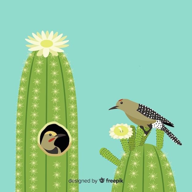Bird on cactus illustration Free Vector