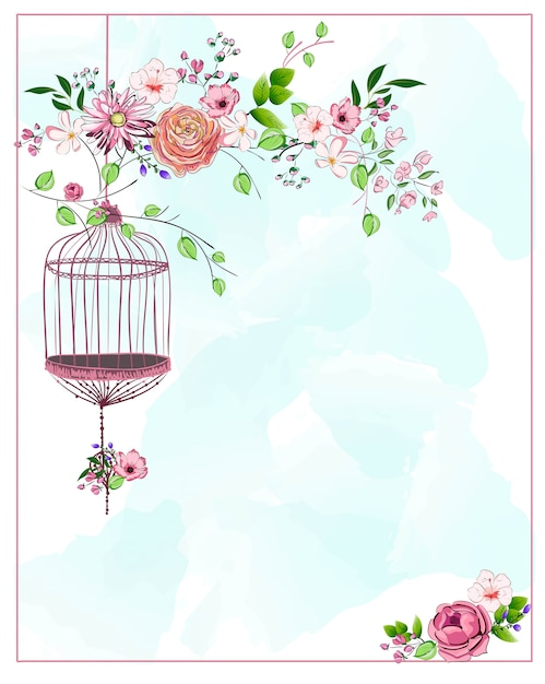 Bird cage hanging from branch with different flowers and leaves on blue watercolor background Premium Vector
