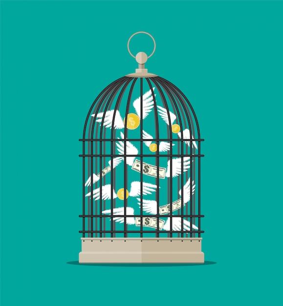 Клетка для птиц с летающими деньгами Premium векторы