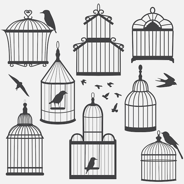 Bird cages silhouette Premium Vector