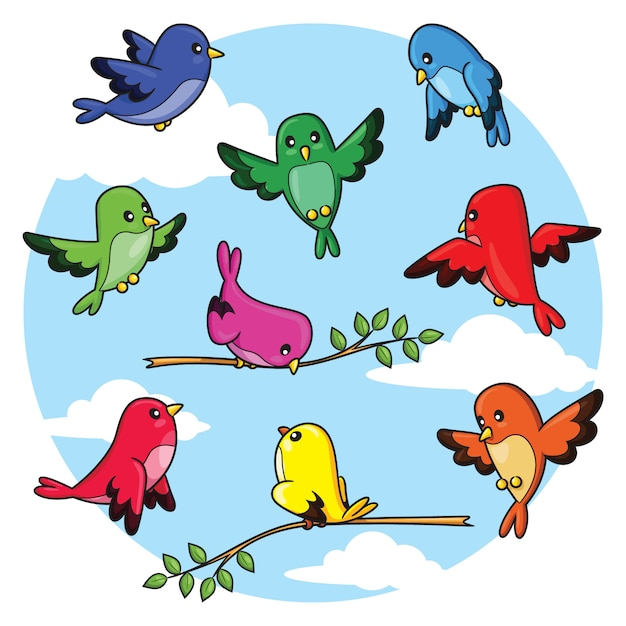 Пакет мультяшных птиц Premium векторы