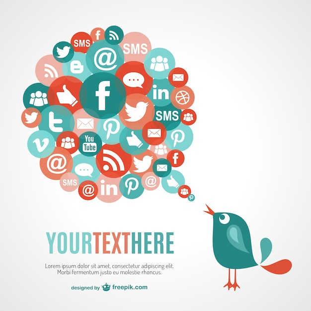 Bird cheeping social media icons Free Vector