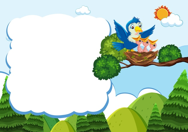 Bird and chicks banner template Premium Vector