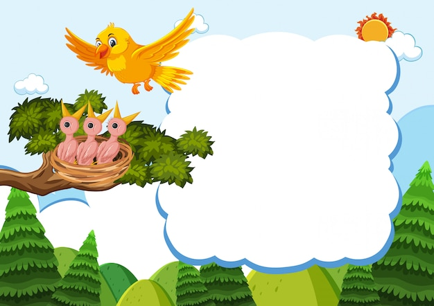 Bird and chicks  template Premium Vector