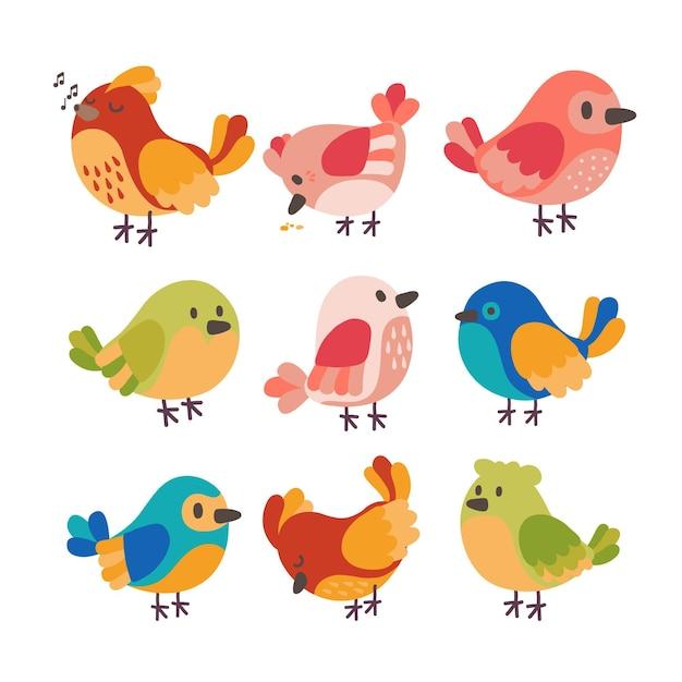 Collezione di uccelli disegnati a mano a tema Vettore gratuito