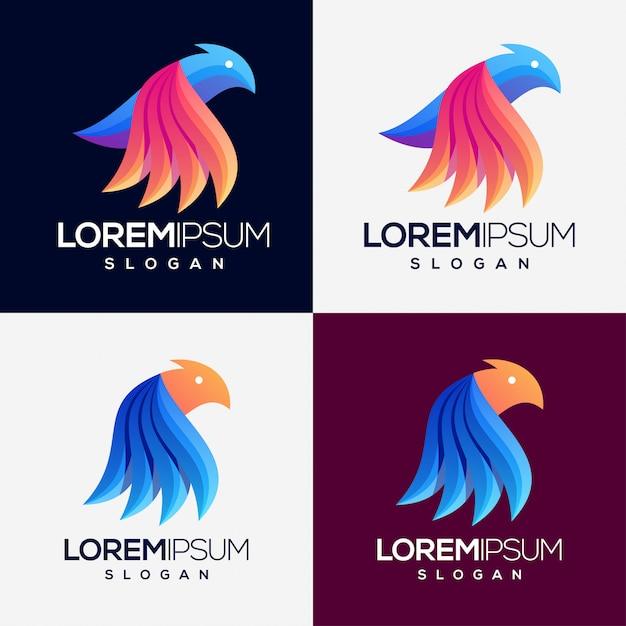 鳥のカラフルなグラデーションロゴセット Premiumベクター