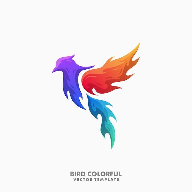 Bird colorful illustration vector design template Premium Vector