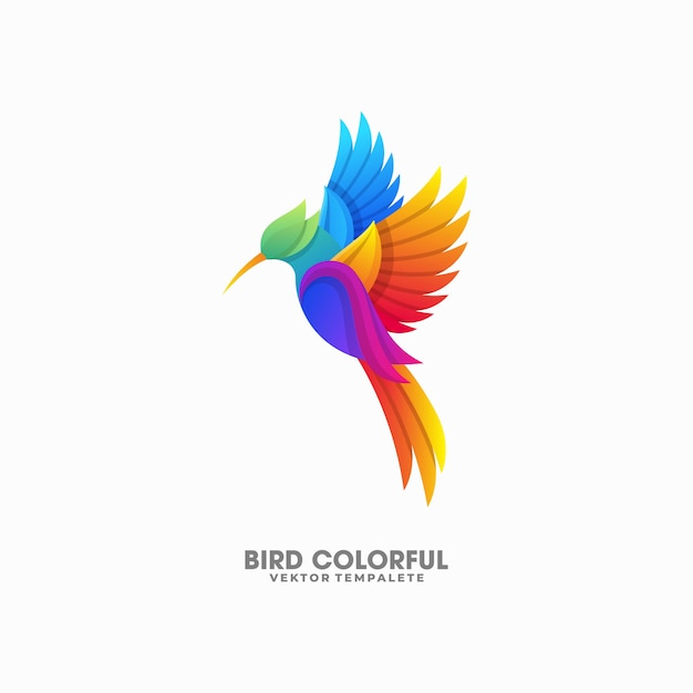 Bird colorful illustration vector template Premium Vector