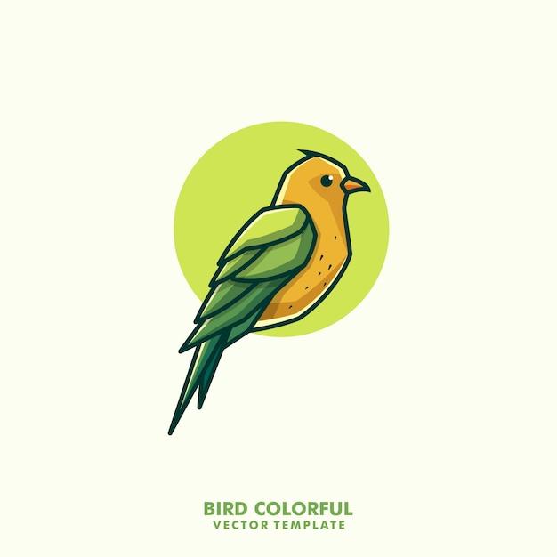 Bird colorful line art illustration vector design template Premium Vector