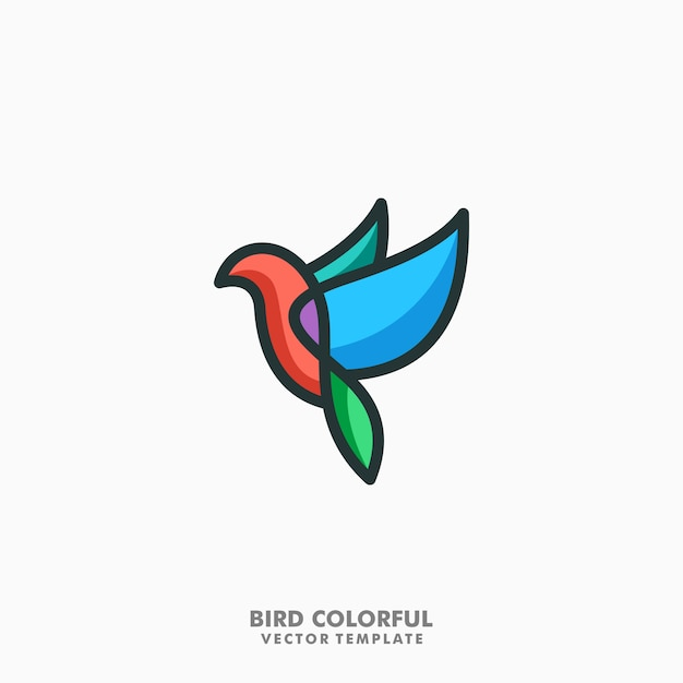 Bird colorful lineart vector Premium Vector