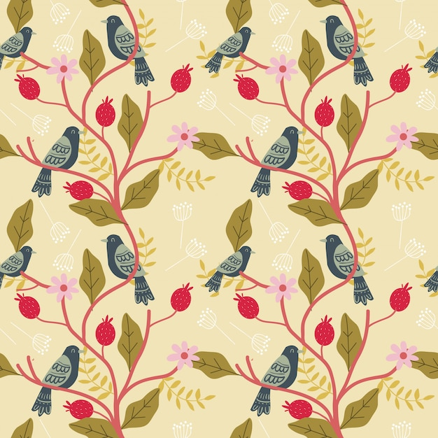 Bird and floral seamless pattern Premium Vector