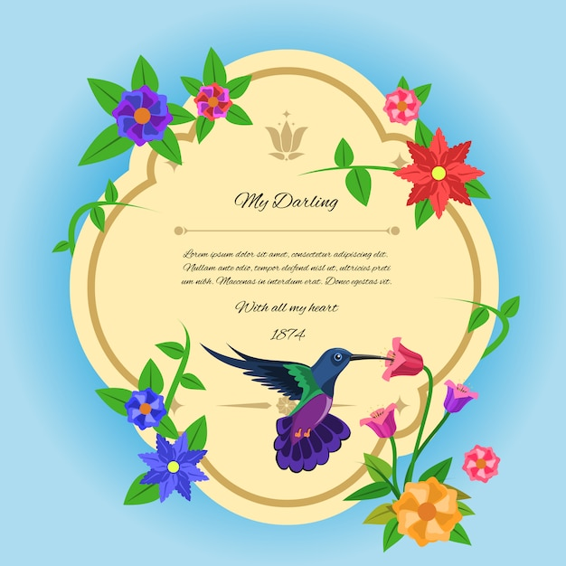 Bird and flowers postcard Free Vector