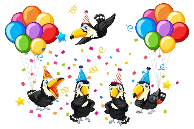 Gruppo di uccelli nel tema del partito isolato Vettore gratuito