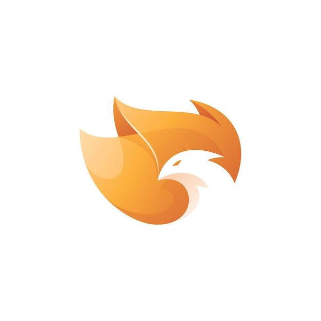 鳥の頭と火の翼フェニックスのロゴ Premiumベクター
