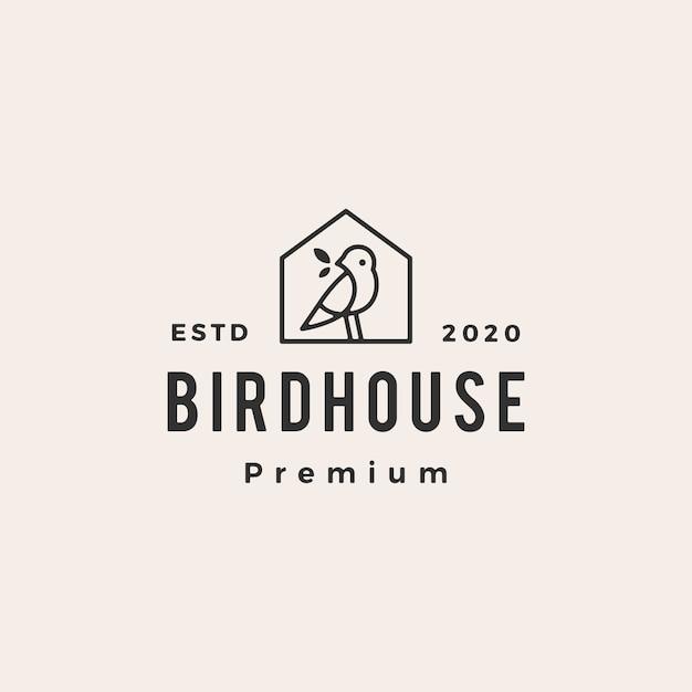 Bird house hipster vintage logo  icon illustration Premium Vector