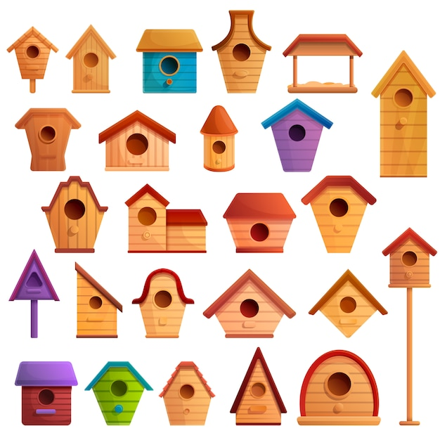 Bird house icons set, cartoon style Premium Vector