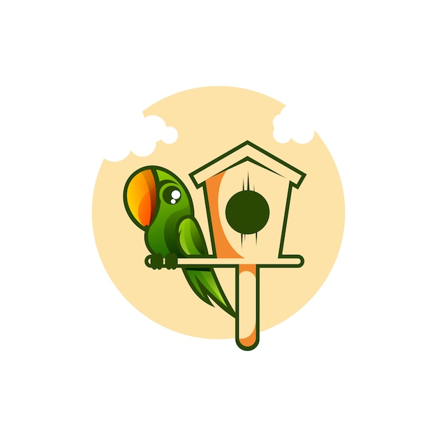 Bird house illustration Premium Vector