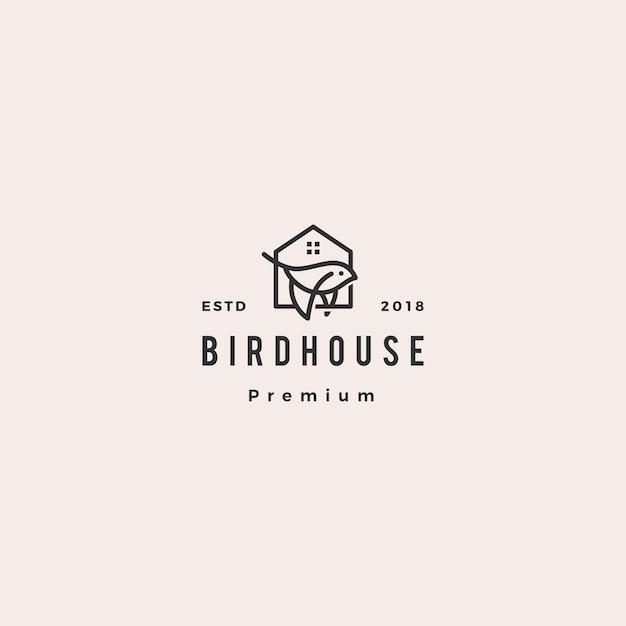 Bird house logo hipster retro vintage  icon illustration Premium Vector