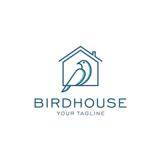 鳥の家のロゴのテンプレート Premiumベクター