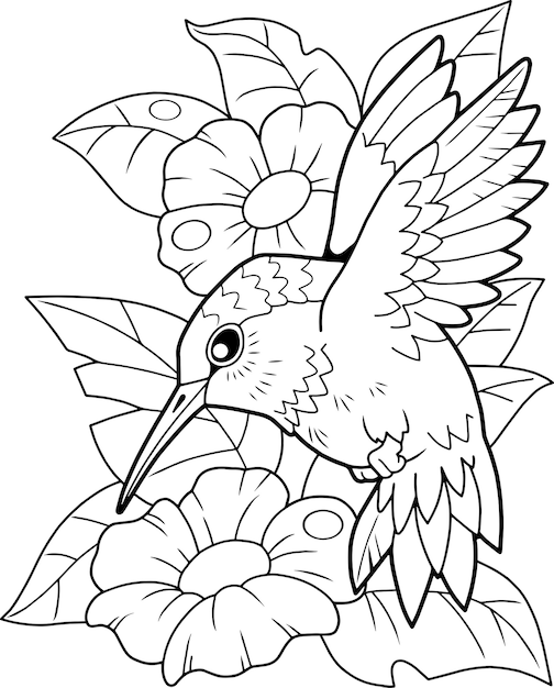 鳥ハチドリ Premiumベクター