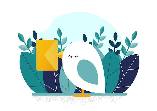 Bird and letter Premium Vector