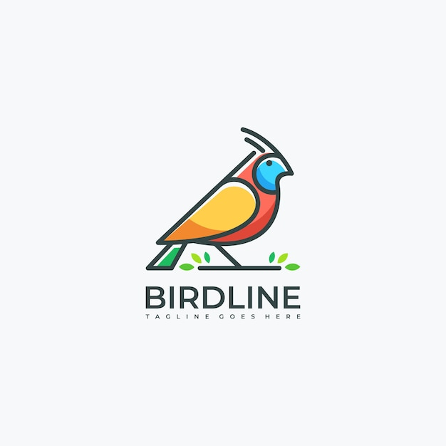 Bird line art leaf Premium Vector