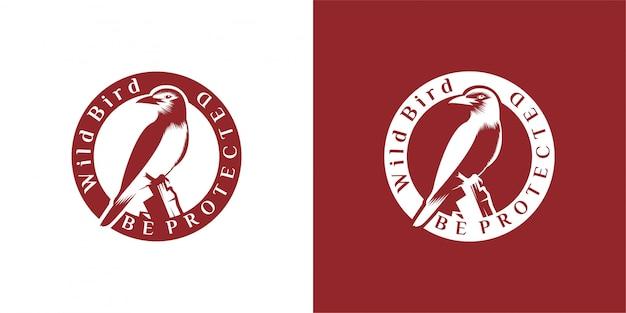 Птица дизайн логотипа эмблема, винтаж, печать, значок, логотип вектор шаблон Premium векторы