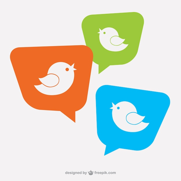 Bird logo on speech bubbles Free Vector