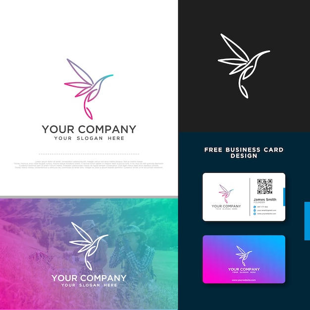 Bird logo with free business card design Premium Vector