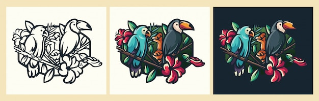 Bird logoo illustration Premium Vector