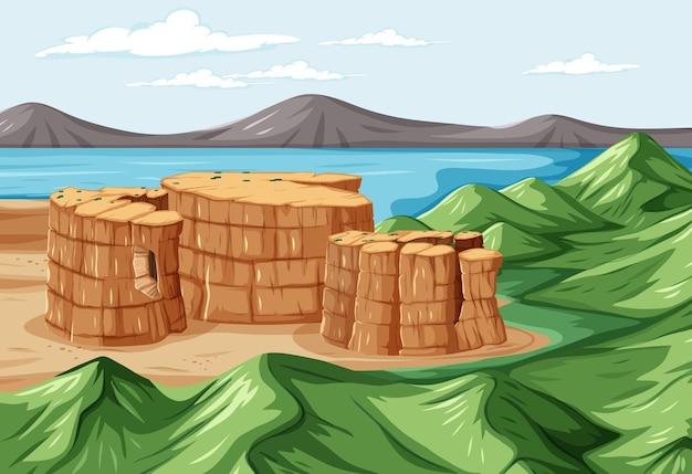 自然公園の風景シーンと鳥瞰図 無料ベクター