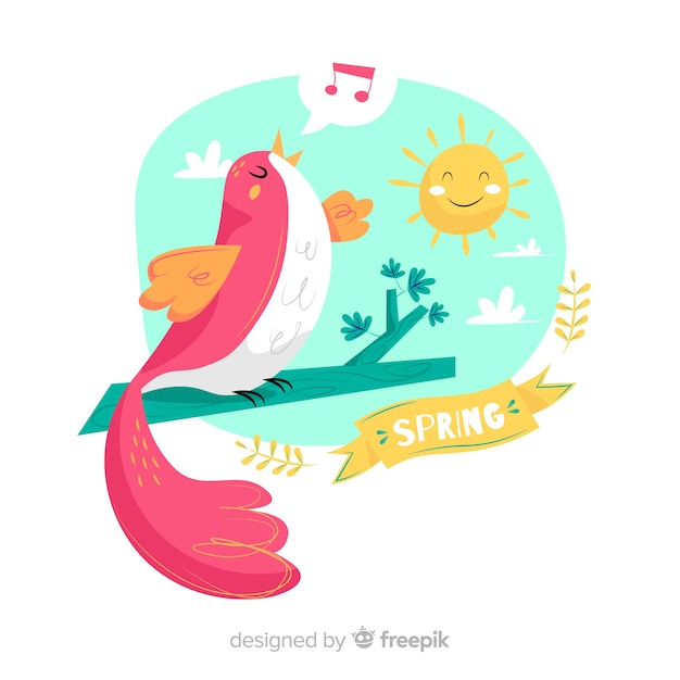 Bird singing spring background Free Vector