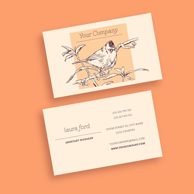 Bird vintage business card Free Vector