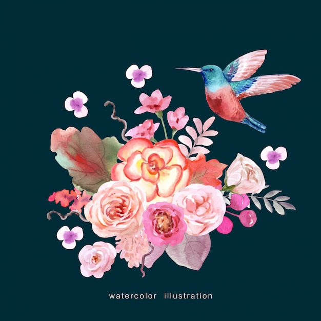 A bird with bouquet of flowers Premium Vector