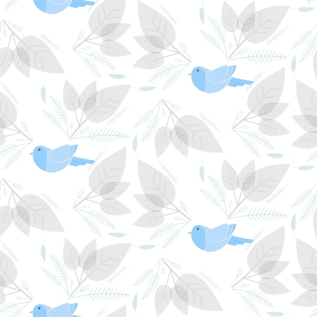 Bird with floral and leaf seamless pattern Premium Vector